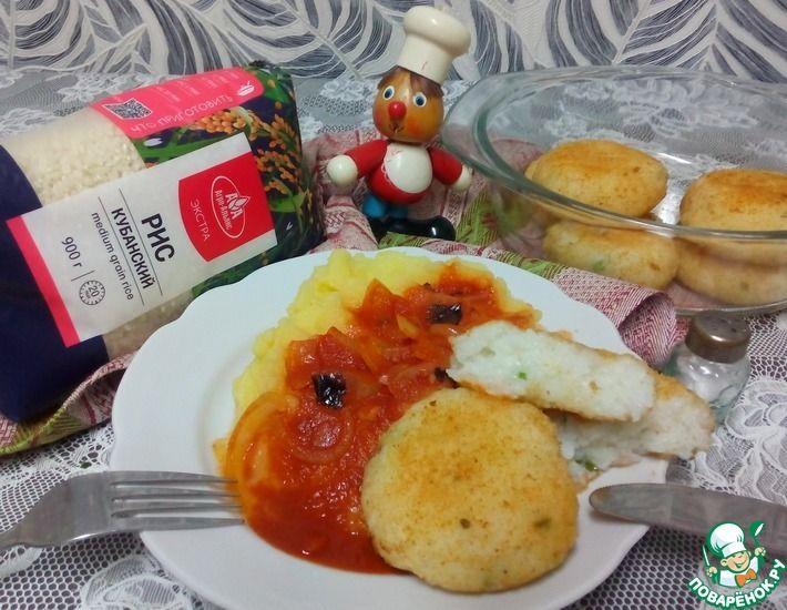 Рецепт: Рисовые котлеты с картофельным пюре в остром томатном соусе