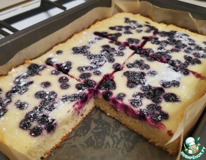 Рецепт: Пирог с черникой и сметанной заливкой