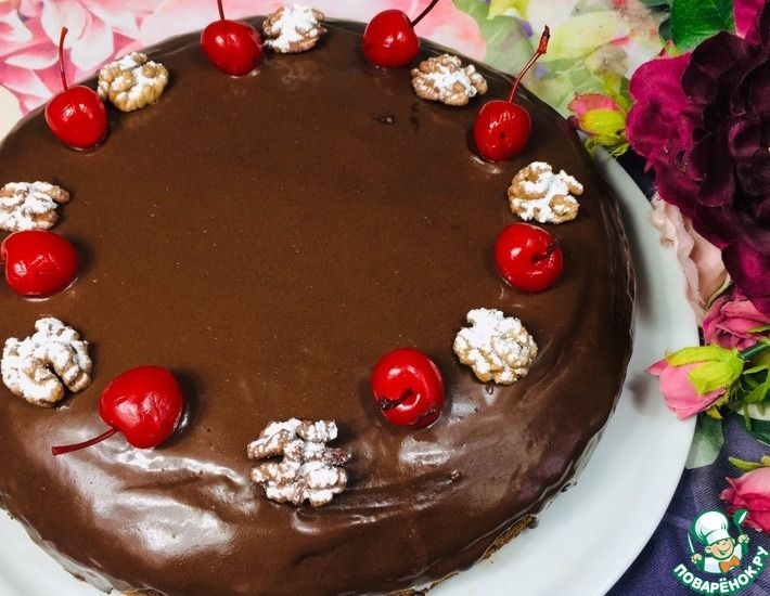 Рецепт: Торт для семьи Шоколадно-вишневый рай