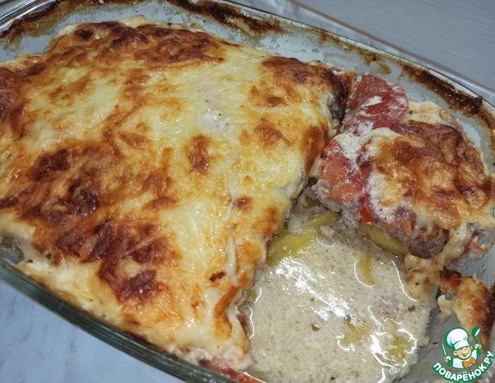 Рецепт: Запеканка картофельная с фаршем и помидорами в духовке