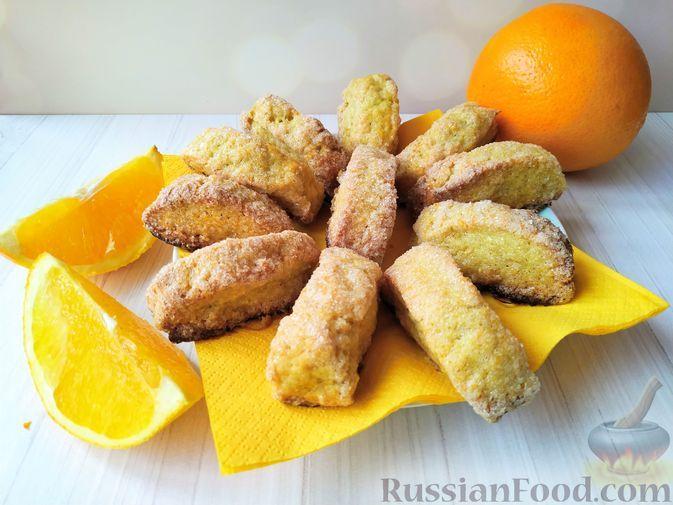 Фото к рецепту: Сахарное печенье апельсиновое (без яиц и сливочного масла)
