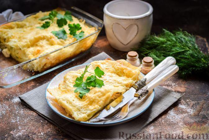 Фото к рецепту: Лазанья с куриным филе и брокколи