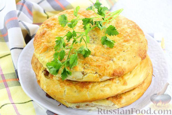Фото к рецепту: Дрожжевые слоёные лепёшки с мясом (в духовке)
