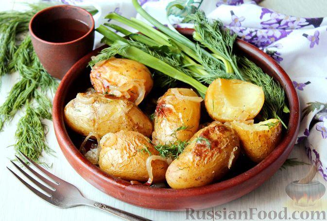 Фото к рецепту: Картофель, запечённый в вине и овощном бульоне, с луком и шалфеем