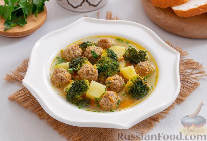 Фото к рецепту: Суп с брокколи и фрикадельками