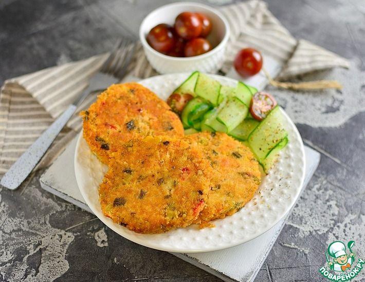 Рецепт: Пшенные котлетки с брокколи и перцами