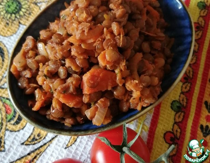 Рецепт: Салат с чечевицей и овощами