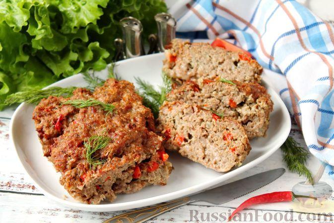 Фото к рецепту: Мясной хлеб из баранины и говядины со сладким перцем