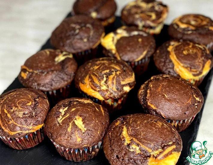 Рецепт: Шоколадно-творожные маффины