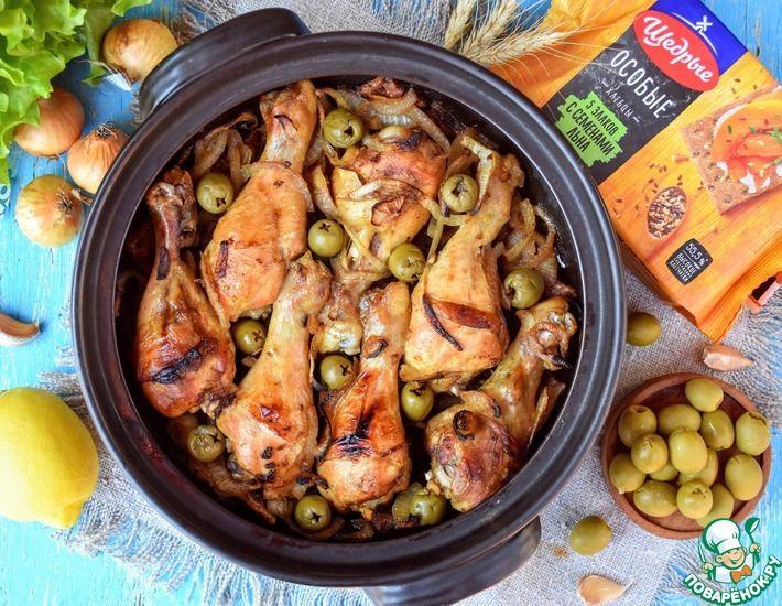 Рецепт: Куриные голени, запечённые на хлебцах