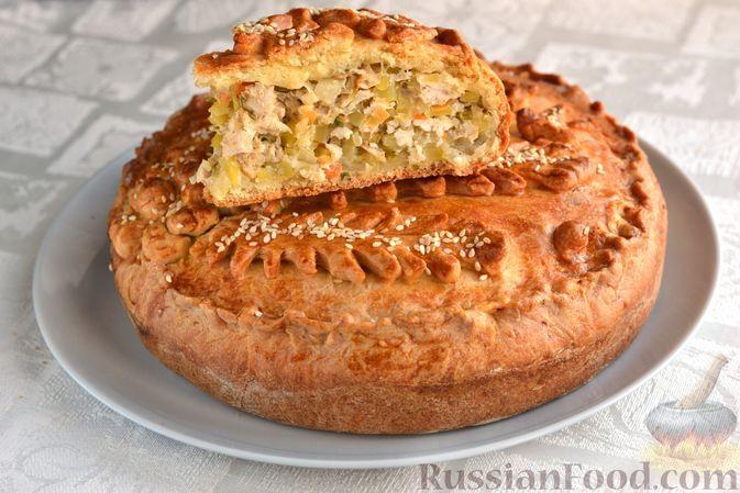 Фото к рецепту: Бездрожжевой пирог на сметане, с картошкой и курицей