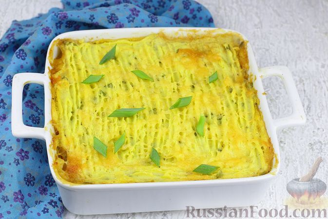 """Фото к рецепту: Картофельная запеканка с мясным фаршем """"Пастуший пирог"""""""