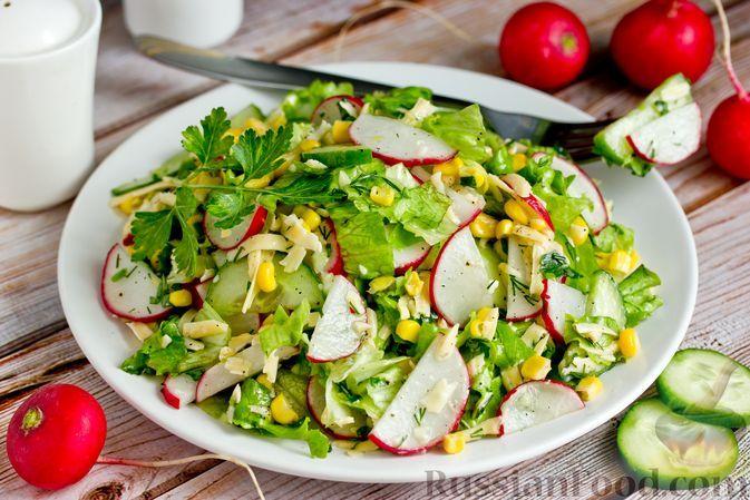 Фото к рецепту: Салат с кукурузой, огурцами, редиской и сыром