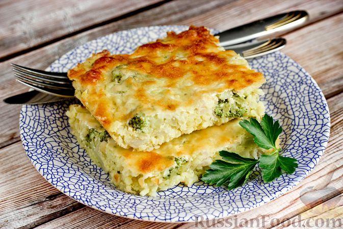 Фото к рецепту: Рисовая запеканка с брокколи, цветной капустой и сыром