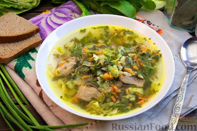 Фото к рецепту: Суп со свининой, молодой капустой, щавелем и шпинатом
