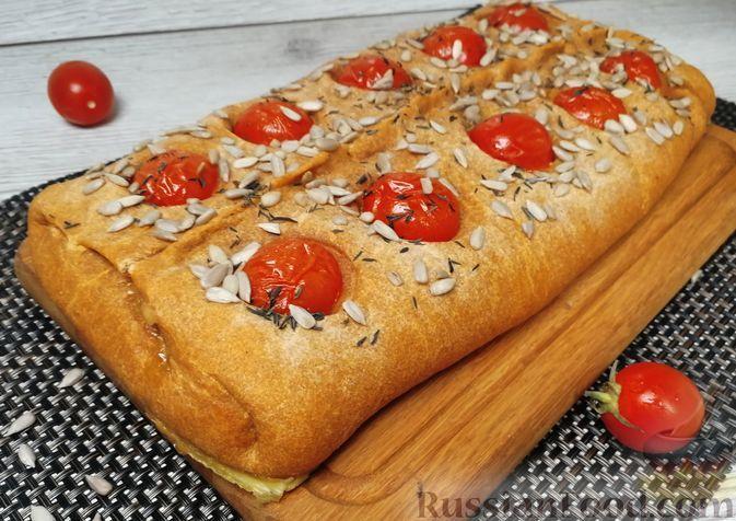 Фото к рецепту: Томатный пирог с начинкой из шпината, сыра и творога
