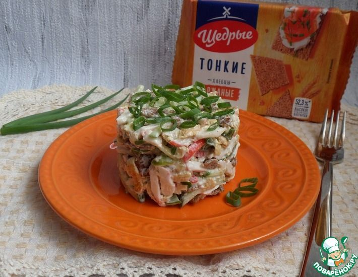Рецепт: Крабовый салат с хлебцами