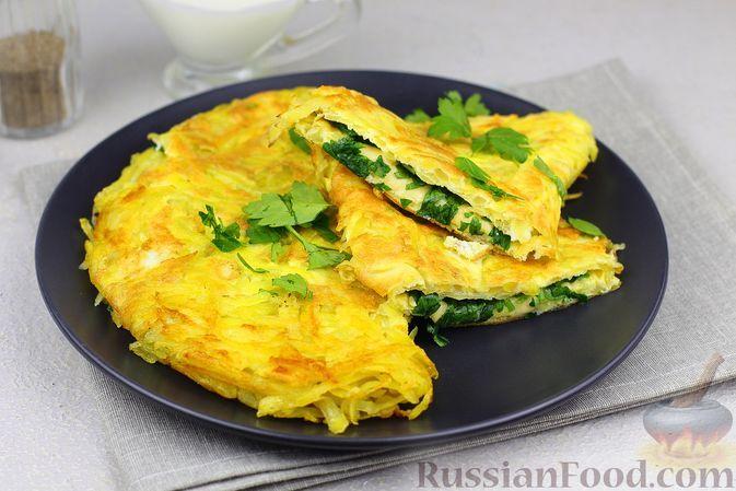 Фото к рецепту: Картофельно-яичные блинчики с сыром и зеленью