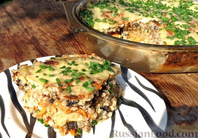 Фото к рецепту: Запеканка с курицей, грибами и овощами