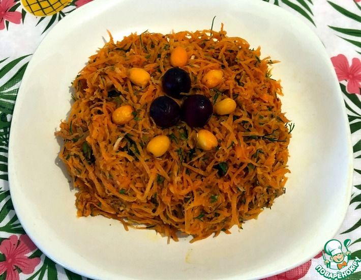 Рецепт: Морковный салат с клюквой и облепихой