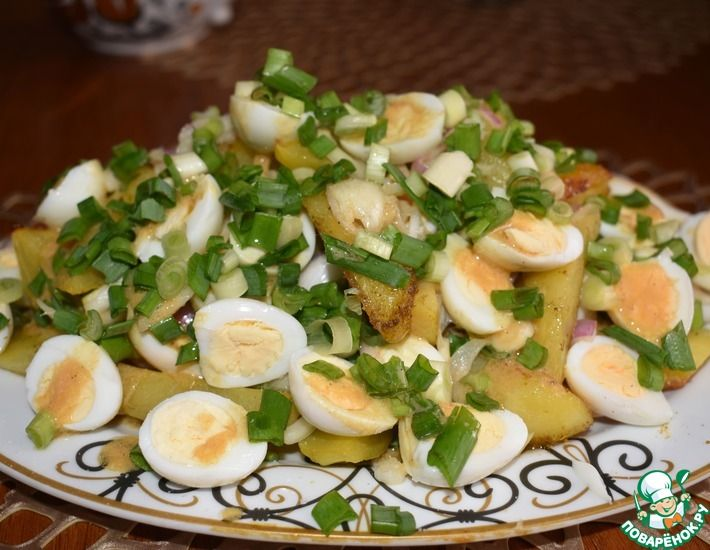 Рецепт: Салат из запеченного картофеля Перепелочка