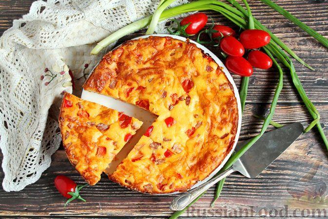 Фото к рецепту: Заливной пирог на молоке с ветчиной и овощами