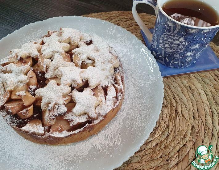 Рецепт: Яблочный пирог с малиновым вареньем