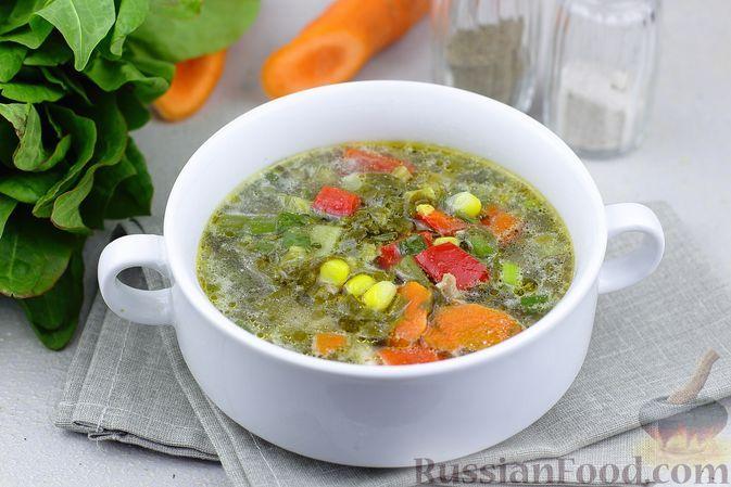 Фото к рецепту: Куриный суп со щавелем, стручковой фасолью и кукурузой