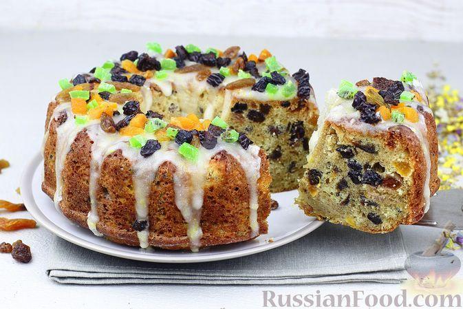 """Фото к рецепту: Кекс """"Весенний"""" с сухофруктами и лимонной глазурью"""