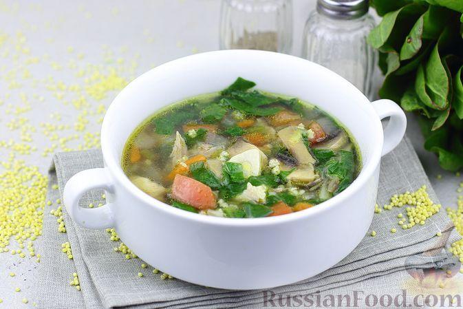 Фото к рецепту: Куриный суп с пшеном, шпинатом и грибами