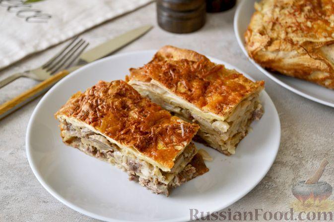 Фото к рецепту: Пирог из лаваша, с мясом, капустой и грибами