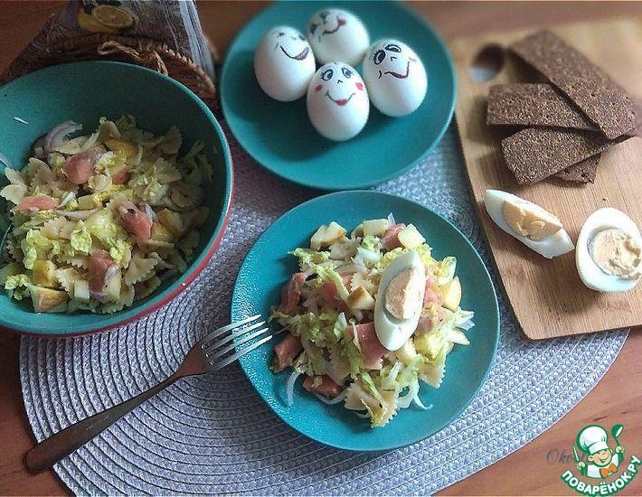 Рецепт: Салат с пастой и красной рыбой