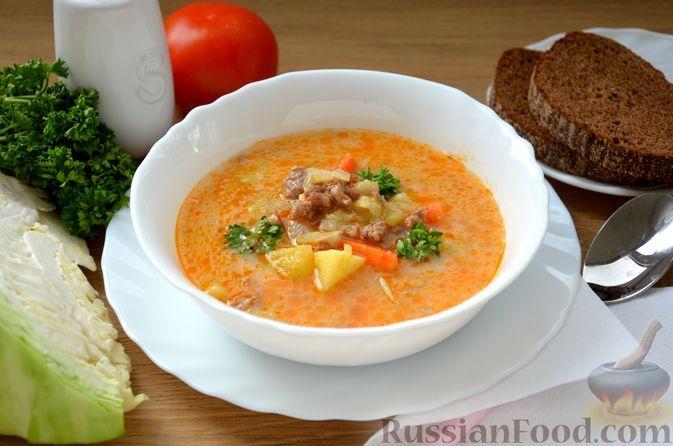 Фото к рецепту: Суп с фаршем, капустой и плавленым сыром