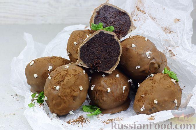 """Фото к рецепту: Пирожное """"Картошка"""" в шоколадной глазури"""