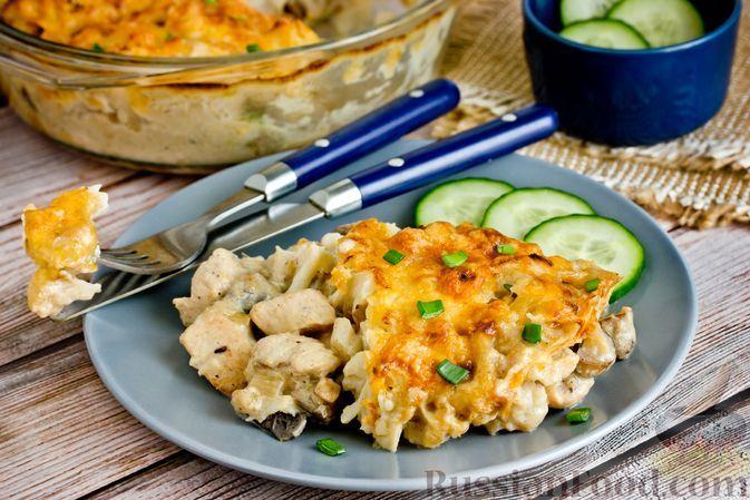 Фото к рецепту: Запеканка-жюльен с куриным филе, грибами и цветной капустой