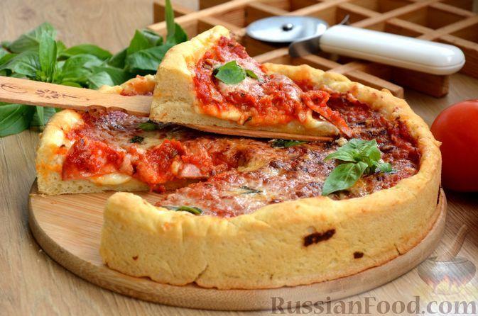 Фото к рецепту: Глубокая пицца по-чикагски
