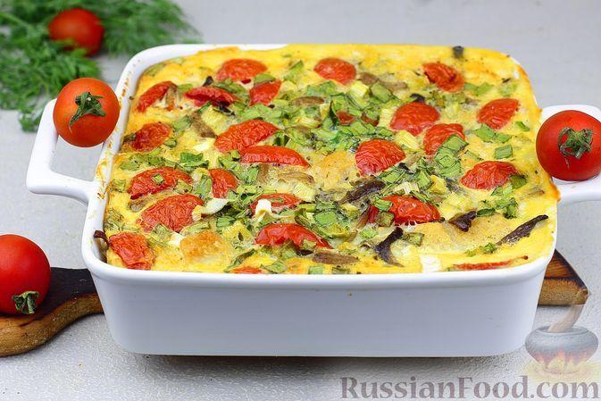 Фото к рецепту: Запеканка с фрикадельками из телятины, цветной капустой, вешенками и помидорами