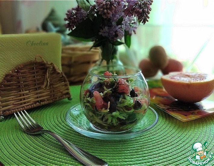 Рецепт: Салат с грейпфрутом и молодой капустой