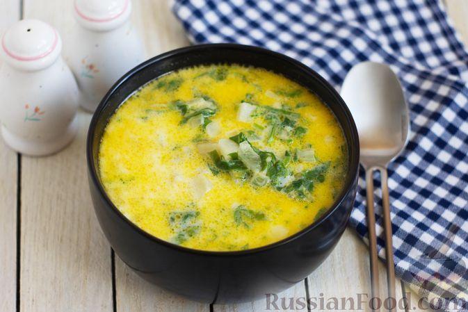 Фото к рецепту: Суп из шпината с сыром и молоком
