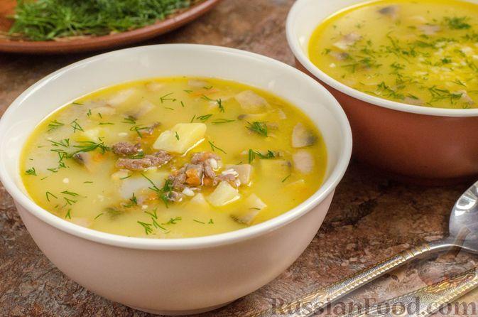 Фото к рецепту: Сырный суп с грибами и фаршем