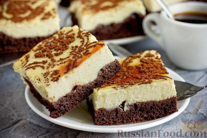 Фото к рецепту: Двухслойные творожно-бисквитные пирожные с какао