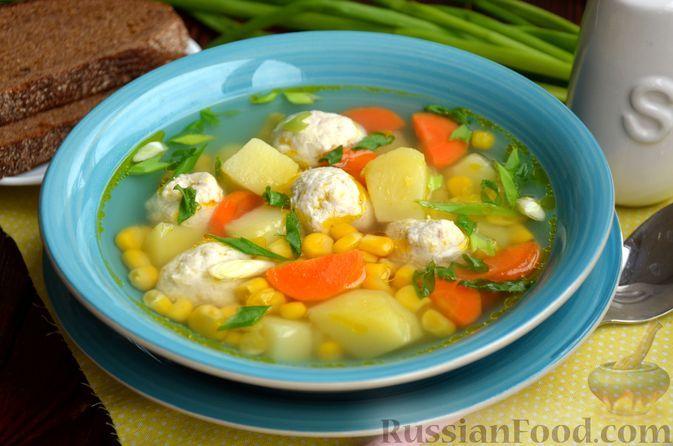 Фото к рецепту: Суп с куриными фрикадельками и консервированной кукурузой