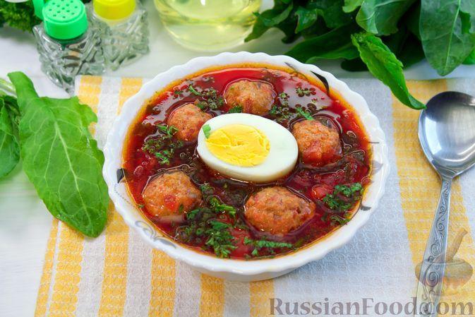 Фото к рецепту: Борщ со щавелем и фрикадельками, без капусты