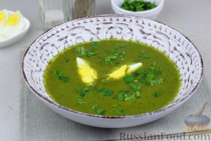 Фото к рецепту: Суп-пюре со шпинатом и картофелем, на курином бульоне