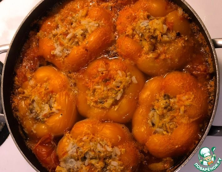 Рецепт: Диетические фаршированные перчики без морковной зажарки