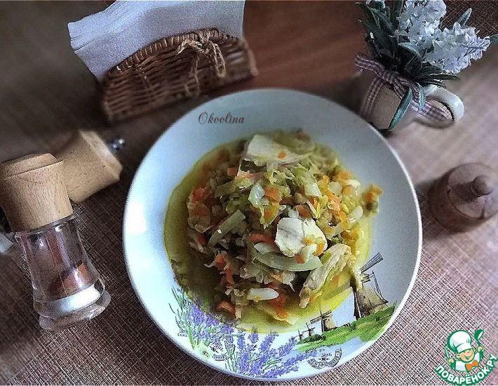 Рецепт: Тушёная молодая капуста с горошком