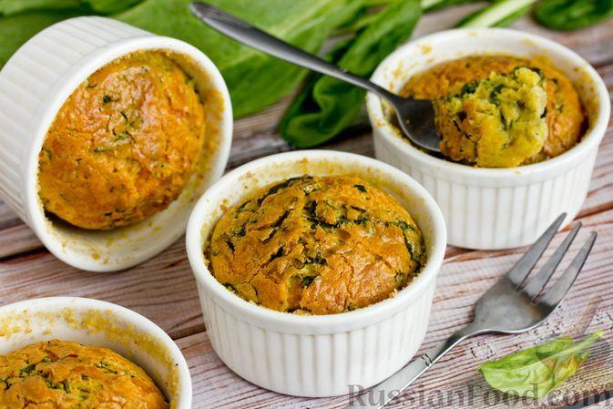 Фото к рецепту: Суфле с сыром и шпинатом