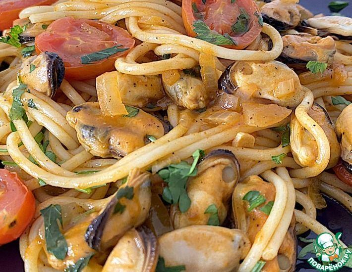 Рецепт: Быстрый средиземноморский ужин. Паста с мидиями
