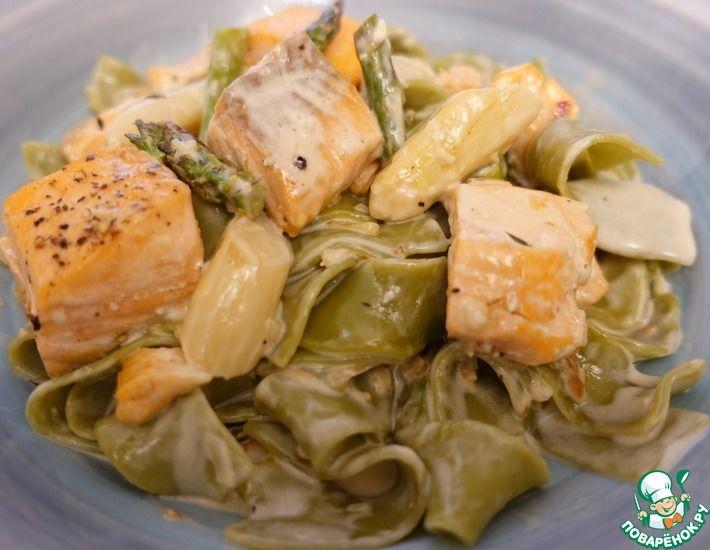 Рецепт: Паста из шпината с лососем