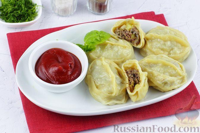 Фото к рецепту: Манты с мясным фаршем, кабачком и картошкой